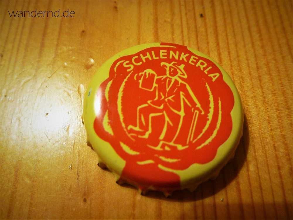 Schlenkerla - der wenig schmeichelhafte Spitzname für Braumeister Andreas Graser. Darstellung auf einem Kronkorken der Brauerei