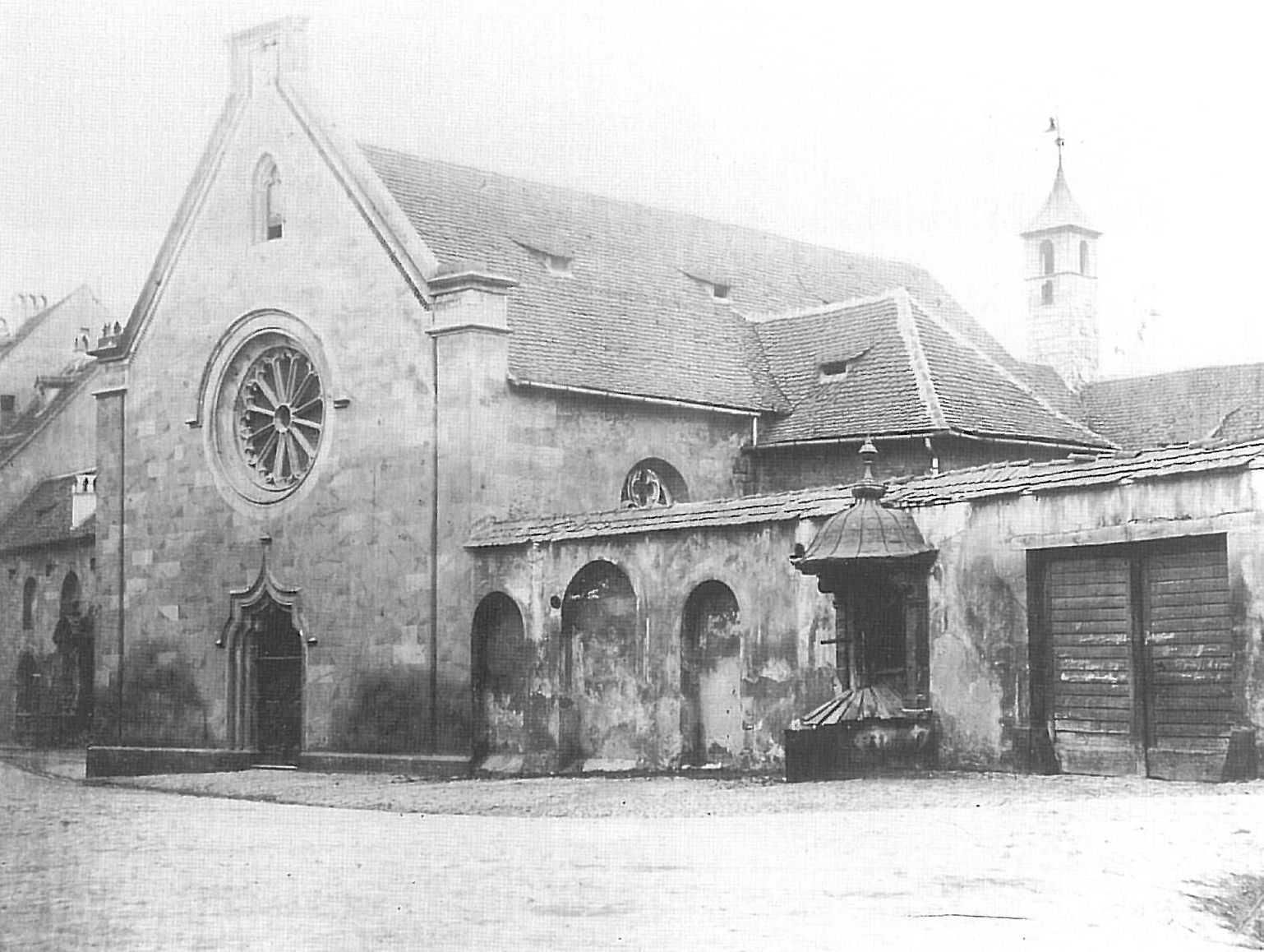 Das Kapuzinerkloster in Bamberg, um 1858.