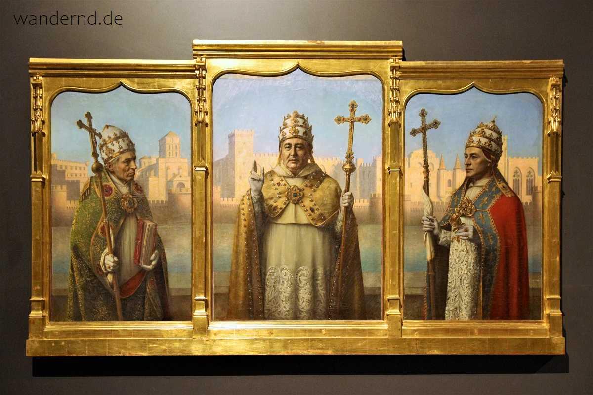 Avignon Papstpalast. Gemälde seiner Erbauer