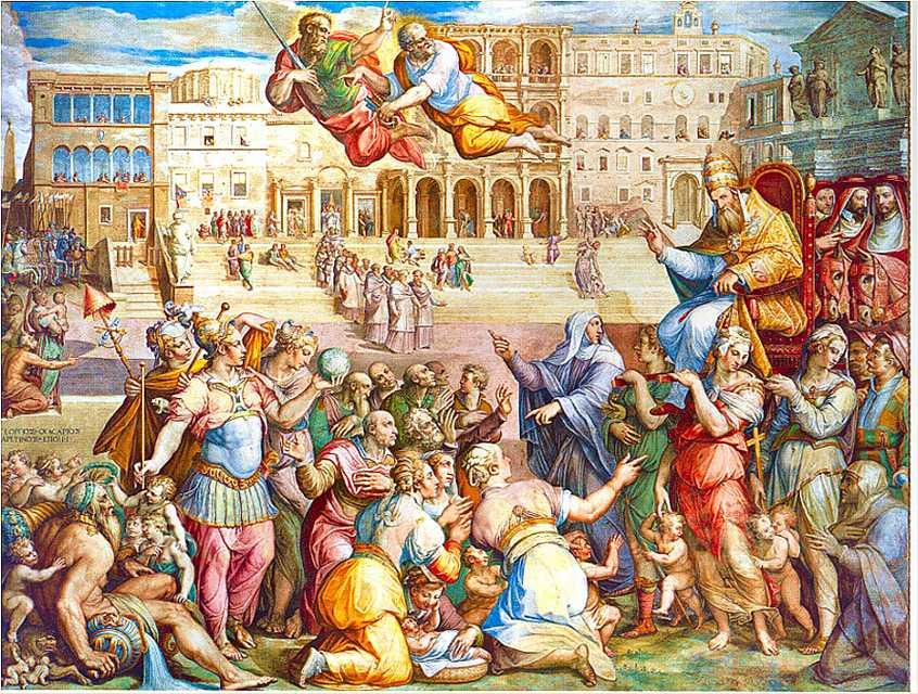 Idealisierte Darstellung der Rückkehr Gregors nach Rom - von Giorgio Vasari