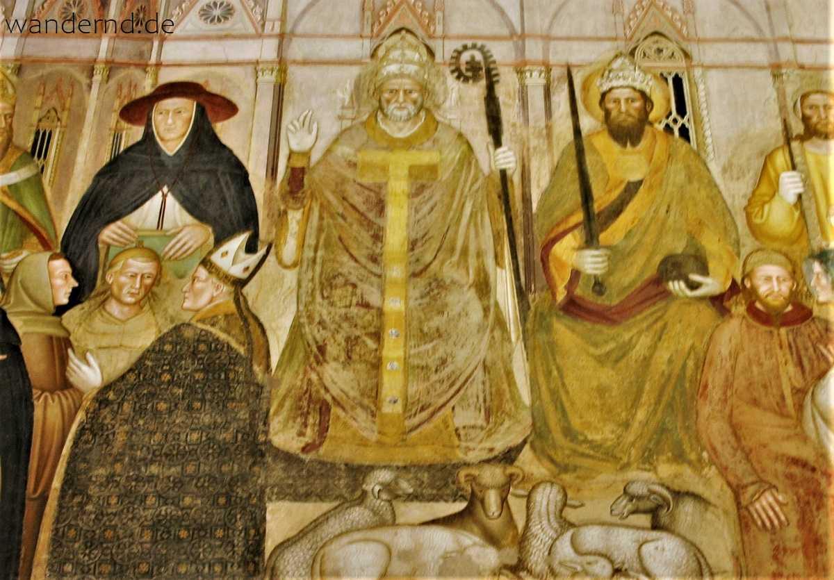 Darstellung Papst Innozenz' VI. (mit Kaiser Karl IV.) in Santa Maria Novella in Florenz