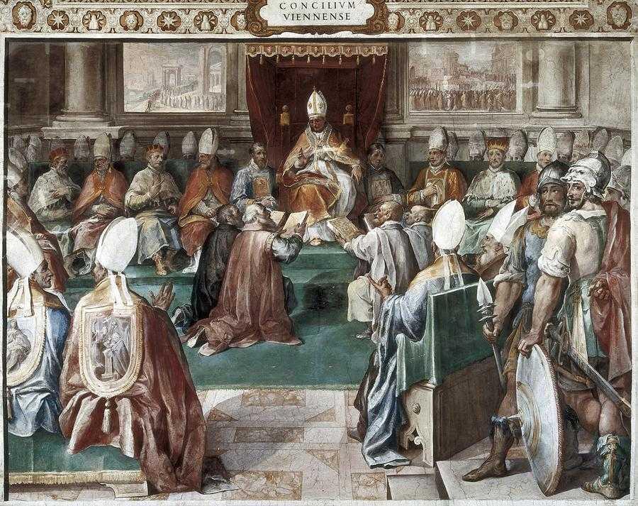 Avignon Papstpalast. Papst Clemens V. auf dem Konzil von Vienne (Gemälde von Paul Lacroix)