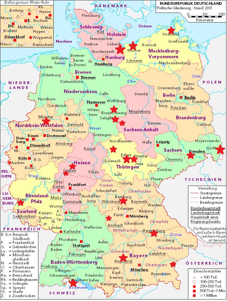 Karte der schönsten historischen Städte Deutschlands